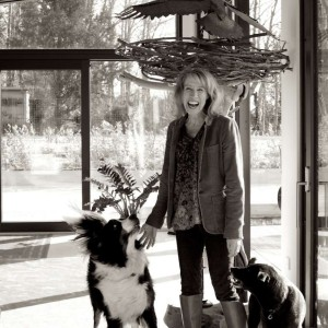 Amy Burgess, owner of Skyhouse, with Hudson and Sweetie, canine companions