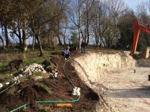Creating the curved escarpment