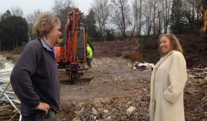 Amy Burgess and Project Manager Joe Eriksson on Sky House Sussex site