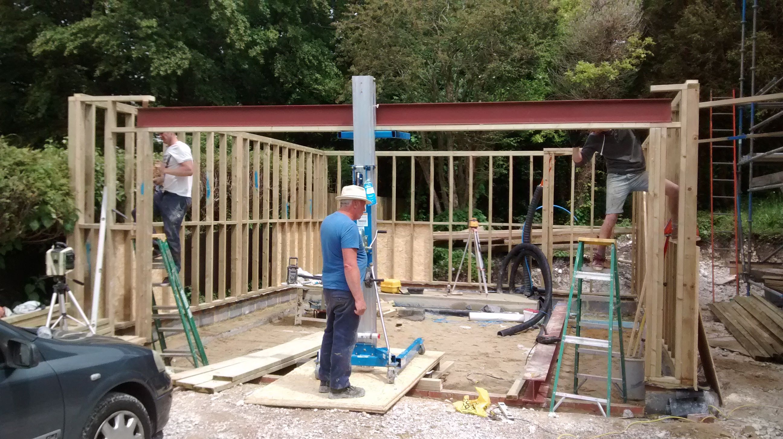 First Steel Beam In Place On New Garage Sky House Sussex